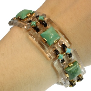 Art Deco turquoise stones articulated bracelet